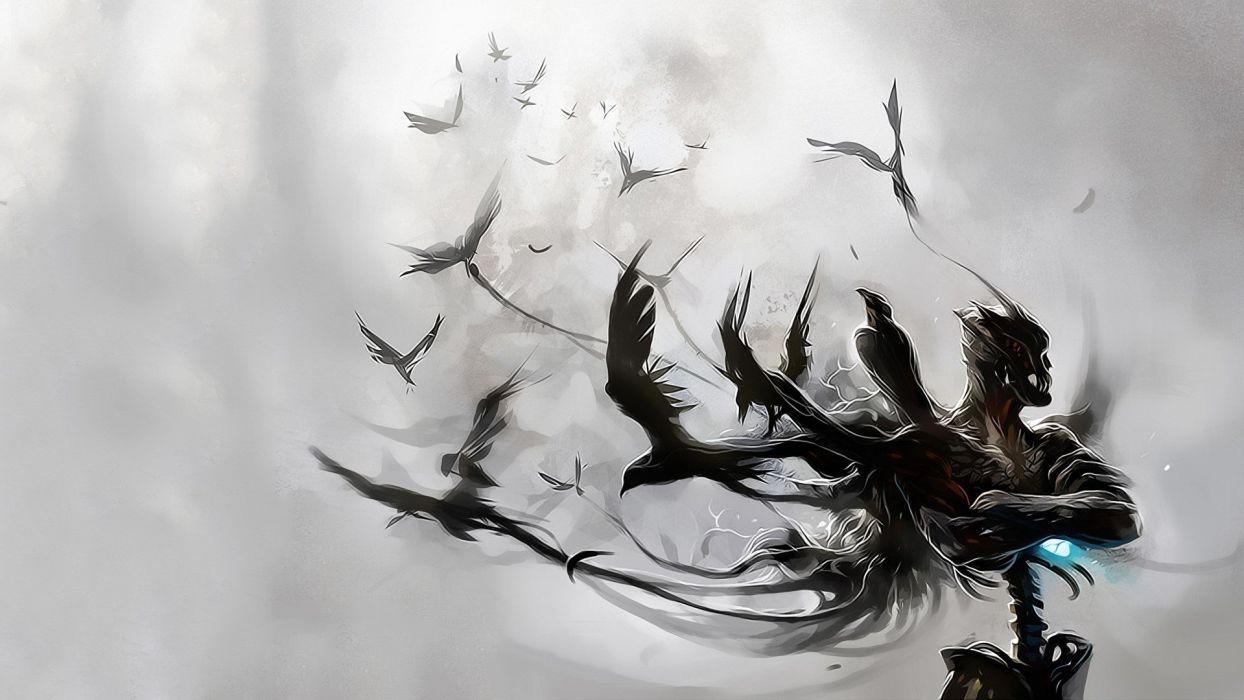 Abstract birds white background raven wallpaper - White background 1920x1080 ...