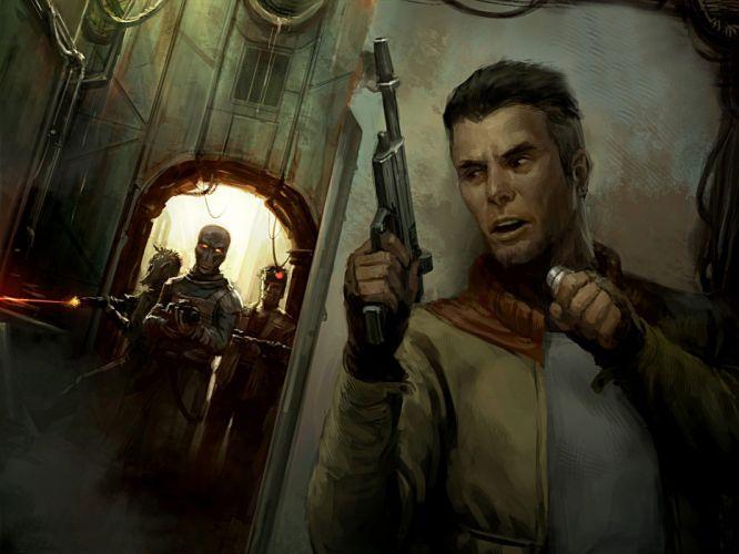 Star Wars stormtroopers Jedi fantasy art spaceships artwork wallpaper