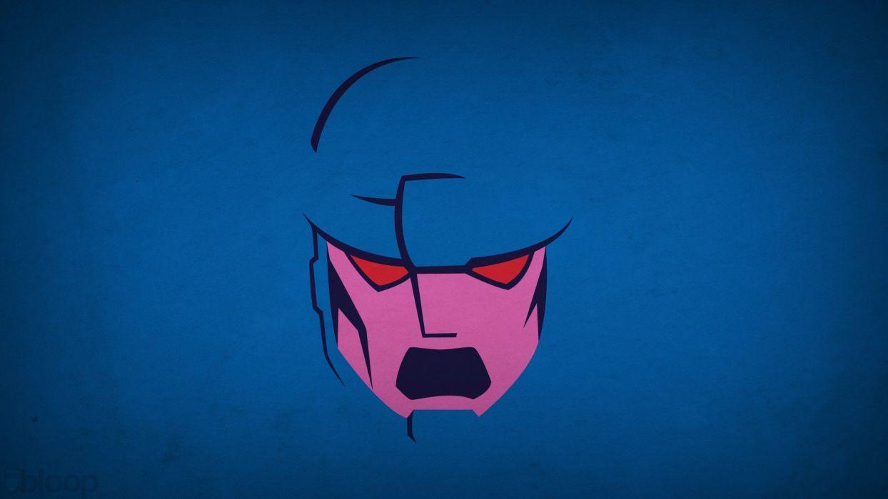 minimalistic X-Men sentinel blue background villians blo0p wallpaper