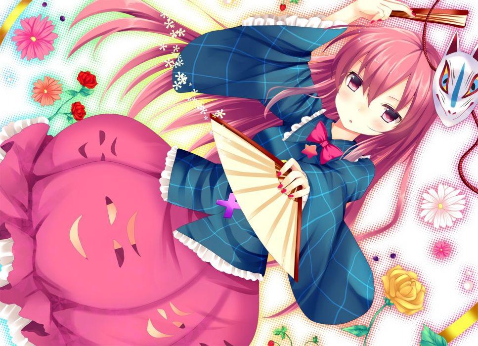 ajiriko bow fan flowers hata no kokoro long hair mask pink eyes pink hair rose touhou wallpaper