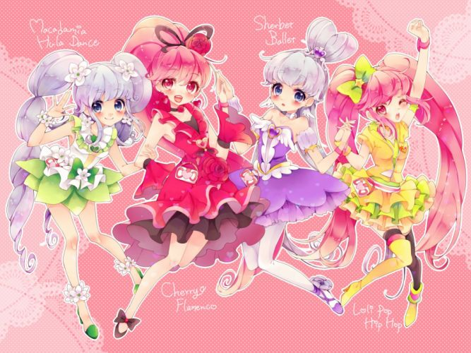 aino megumi blue eyes blue hair blush bow cure lovely cure princess dress flowers pantyhose pink eyes pink hair ponytail precure rose twintails wink wallpaper