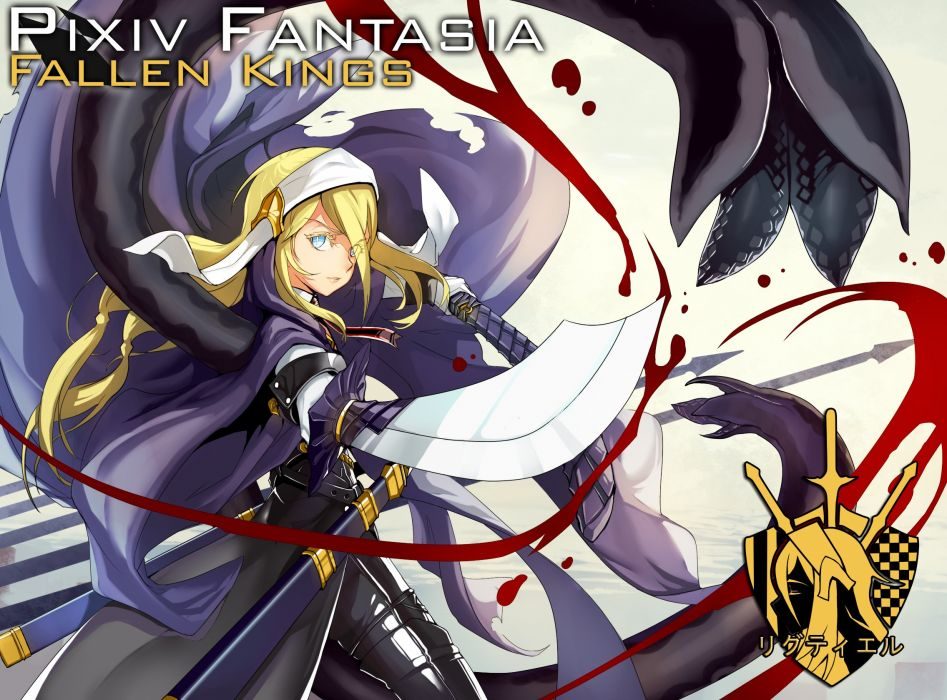 armor blonde hair blood blue eyes cape long hair pixiv fantasia realmbw sword weapon wallpaper