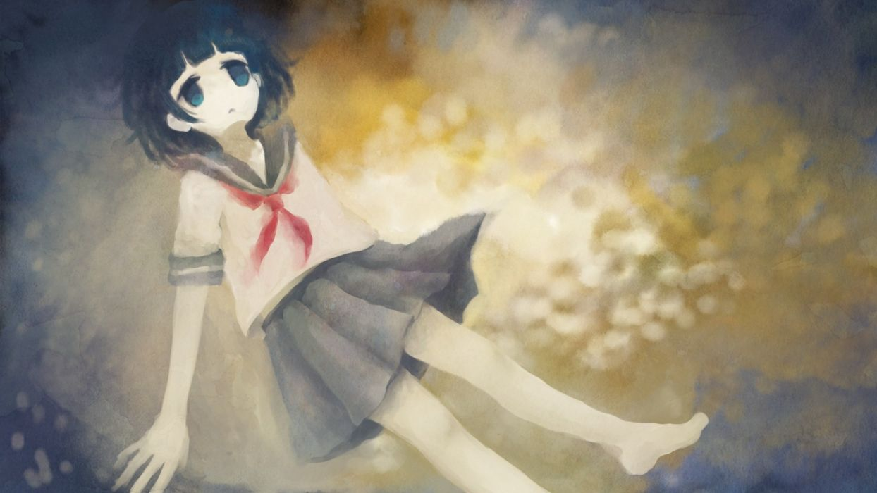 barefoot between shizuki black hair blue eyes original seifuku short hair skirt wallpaper
