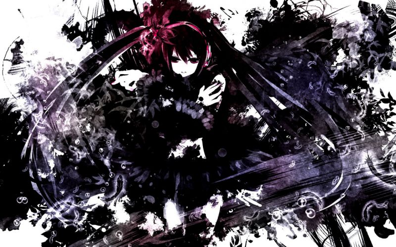 black eyes black hair bubbles hatsune miku long hair maedanhat twintails vocaloid wallpaper