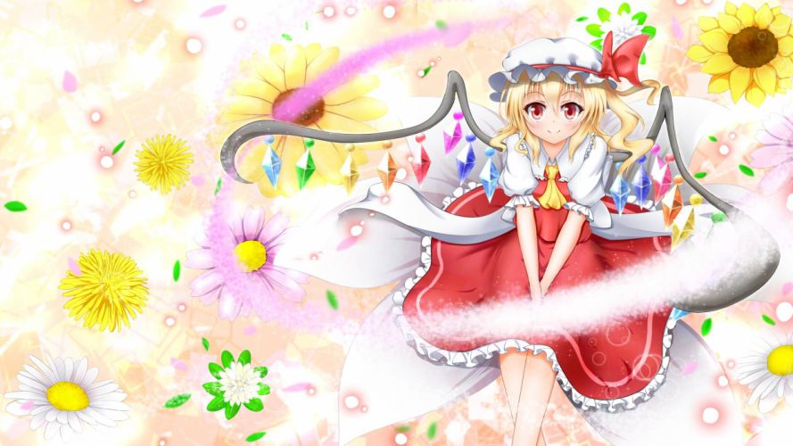 blonde hair flandre scarlet flowers hat red eyes ribbons short hair tagme (artist) touhou wings wallpaper