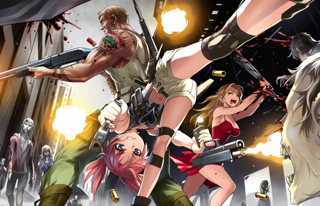 blood blue eyes boots breasts building city cleavage gun knife long hair navel original pink hair rain shorts skull tattoo twintails water weapon wallpaper