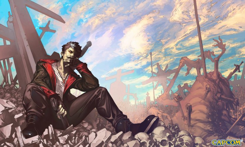 black hair bones boots capcom clouds cross dante devil may cry gloves gun logo male necklace red eyes ruins short hair skull sky weapon white hair wallpaper