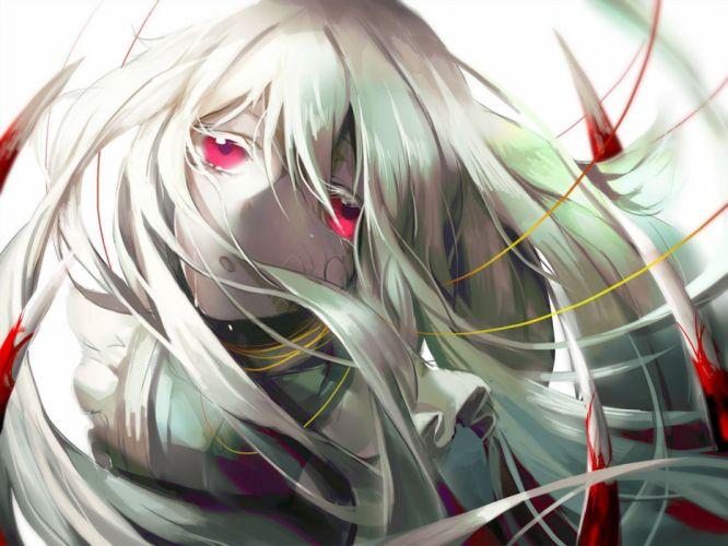 blood kagerou project kozakura mary long hair red eyes syeoseul white hair wallpaper