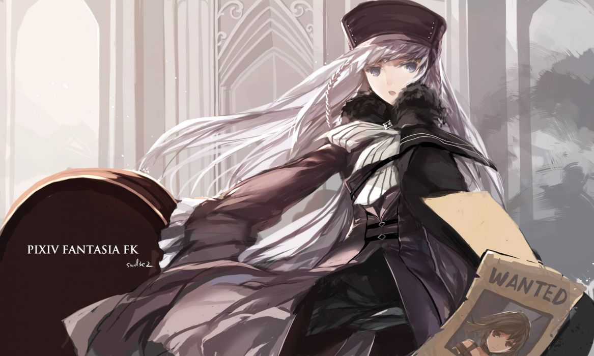 blue eyes hat long hair pink hair pixiv fantasia signed swd3e2 wallpaper