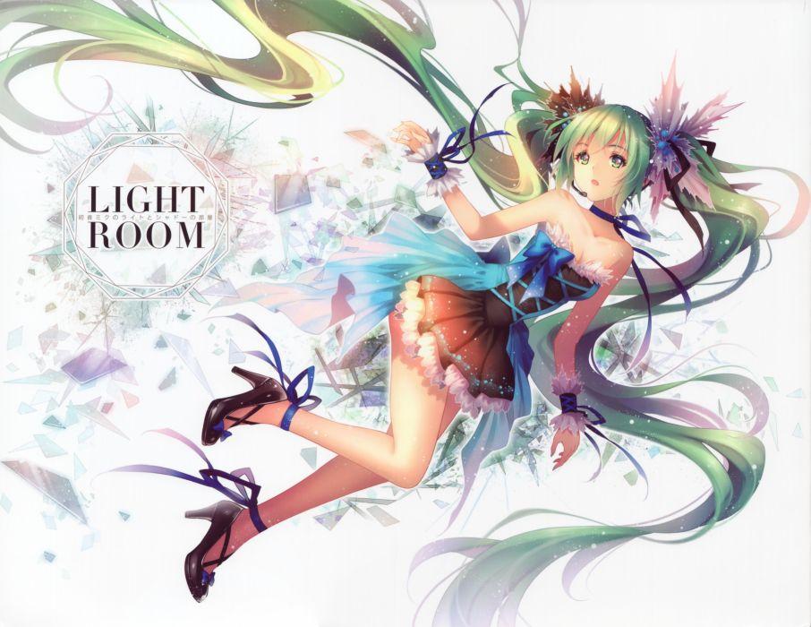 bow dress green eyes green hair hatsune miku long hair ribbons scan tidsean twintails vocaloid wallpaper