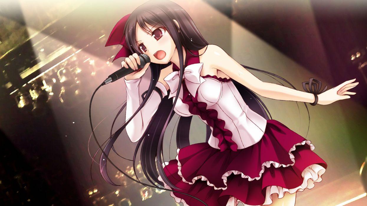 bow brown eyes brown hair daikanyama ebisu game cg long hair microphone offline shoujo wallpaper
