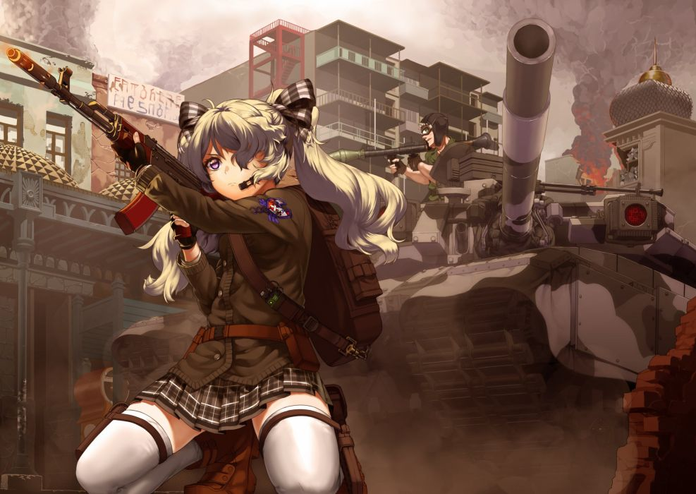boots building city fire gloves goggles gun long hair military original purple eyes ribbons ruins skirt thighhighs twintails uniform weapon white hair wallpaper