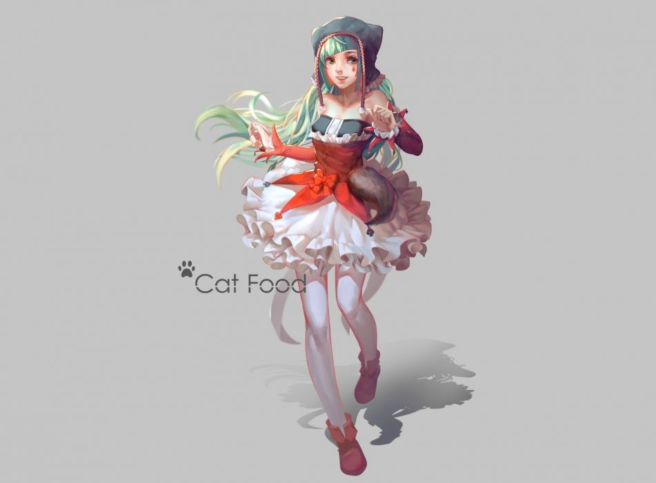 cat food (vocaloid) gray green hair hat hatsune miku lightofheaven long hair pantyhose skirt vocaloid yellow eyes wallpaper