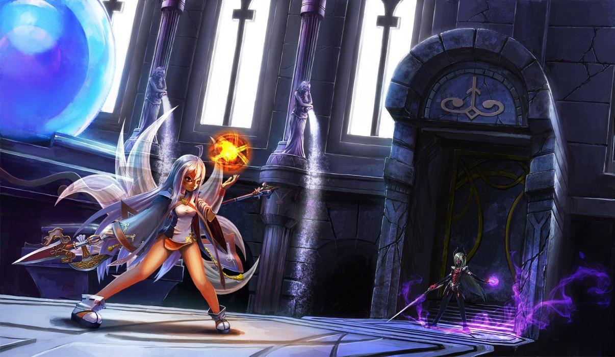 elsword horns long hair magic multiple tails rapt red eyes spear sword tail weapon white hair wallpaper