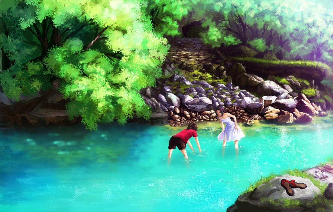 girls black hair brown hair dress original ponytail shorts sorin (pengnangehao) summer dress tree water wallpaper