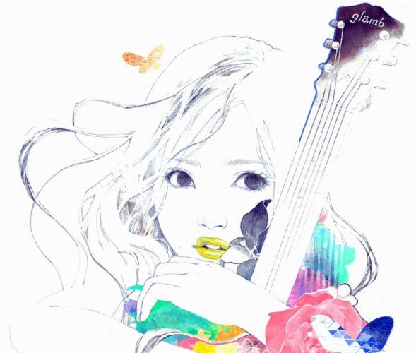 original guitar soft mood girl g wallpaper