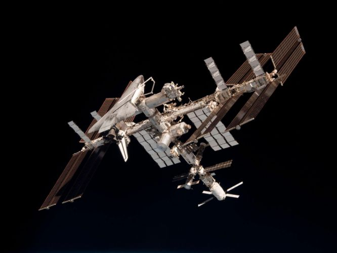 esa europe space The International Space Station and the Docked Space Shuttle Endeavour wallpaper