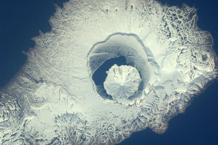 esa europe space Volcano Onekotan Island Russia wallpaper
