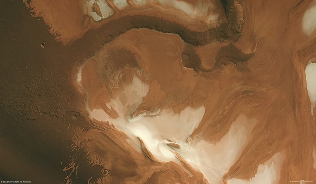 esa europe spacePolar water-ice caps on Mars 1920x1123 wallpaper