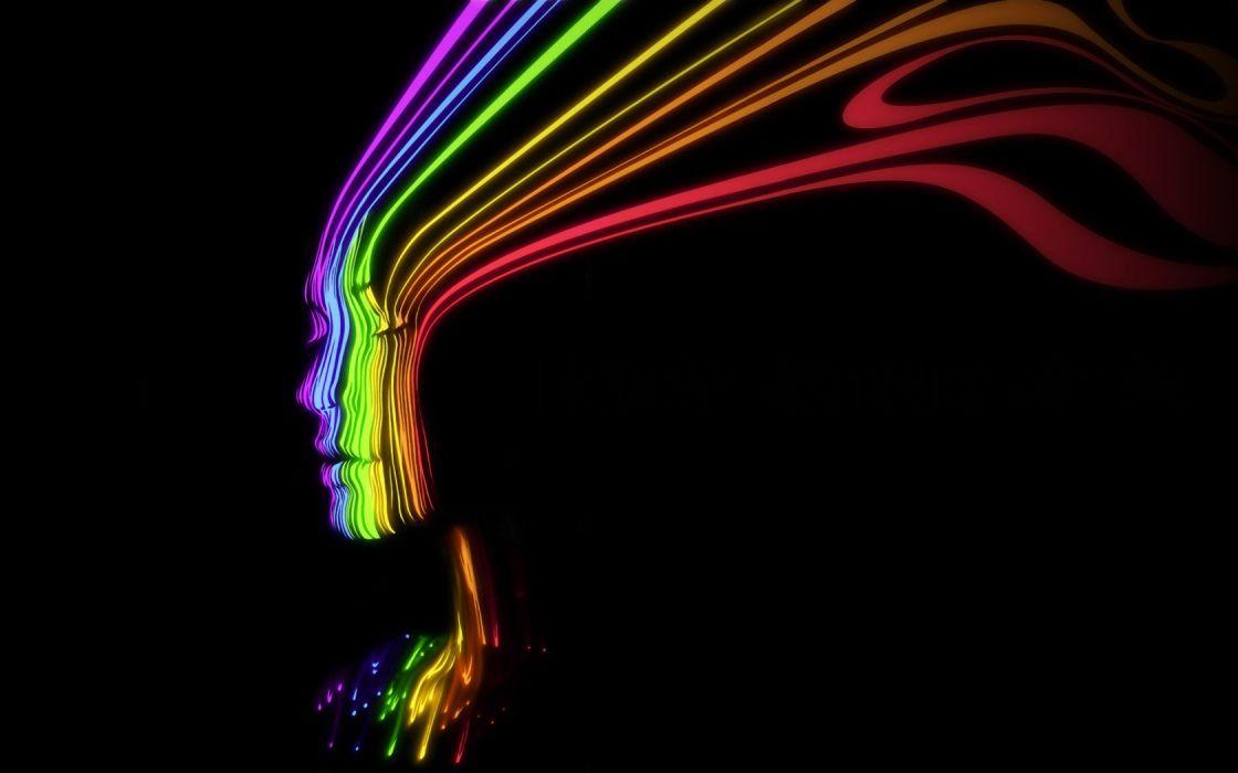 multicolor rainbows faces black background wallpaper