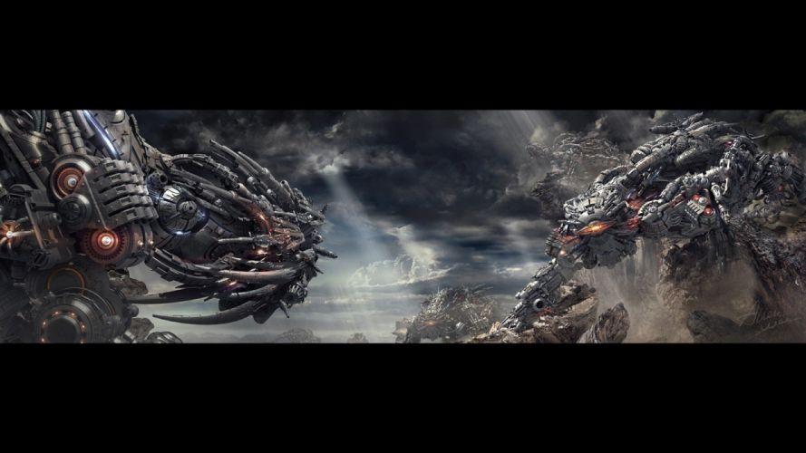 light clouds futuristic weapons digital art artwork wallpaper