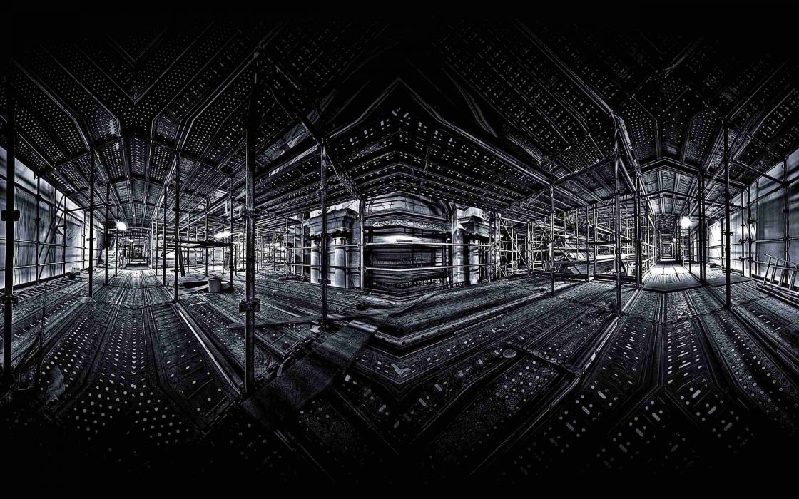 light interior digital art monochrome scaffolding support wallpaper