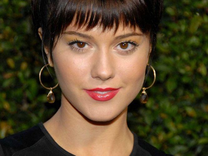 brunettes women Mary Elizabeth Winstead actress lips celebrity earrings black dress green background bangs wallpaper