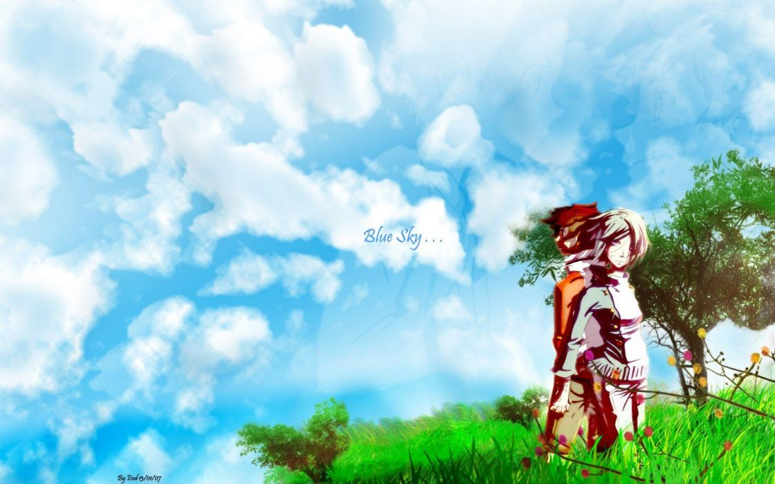 grass anime skies wallpaper
