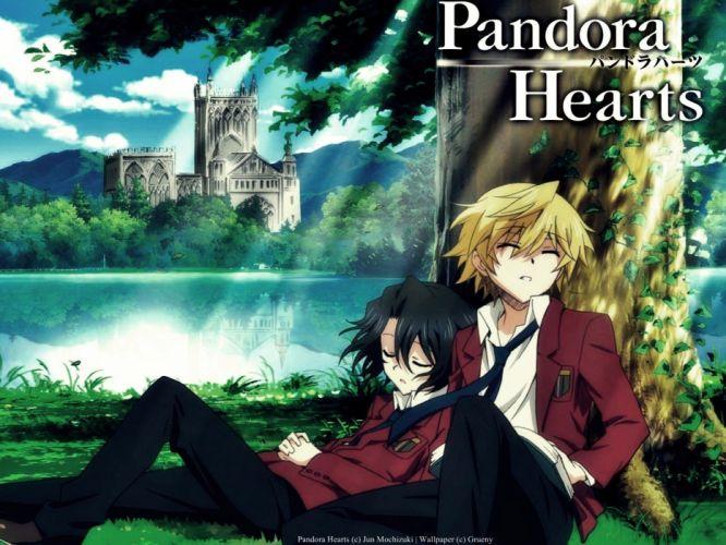 brunettes blondes leaves grass school uniforms tie buildings Pandora Hearts anime anime boys Gilbert Nightray Oz Vessalius closed eyes wallpaper