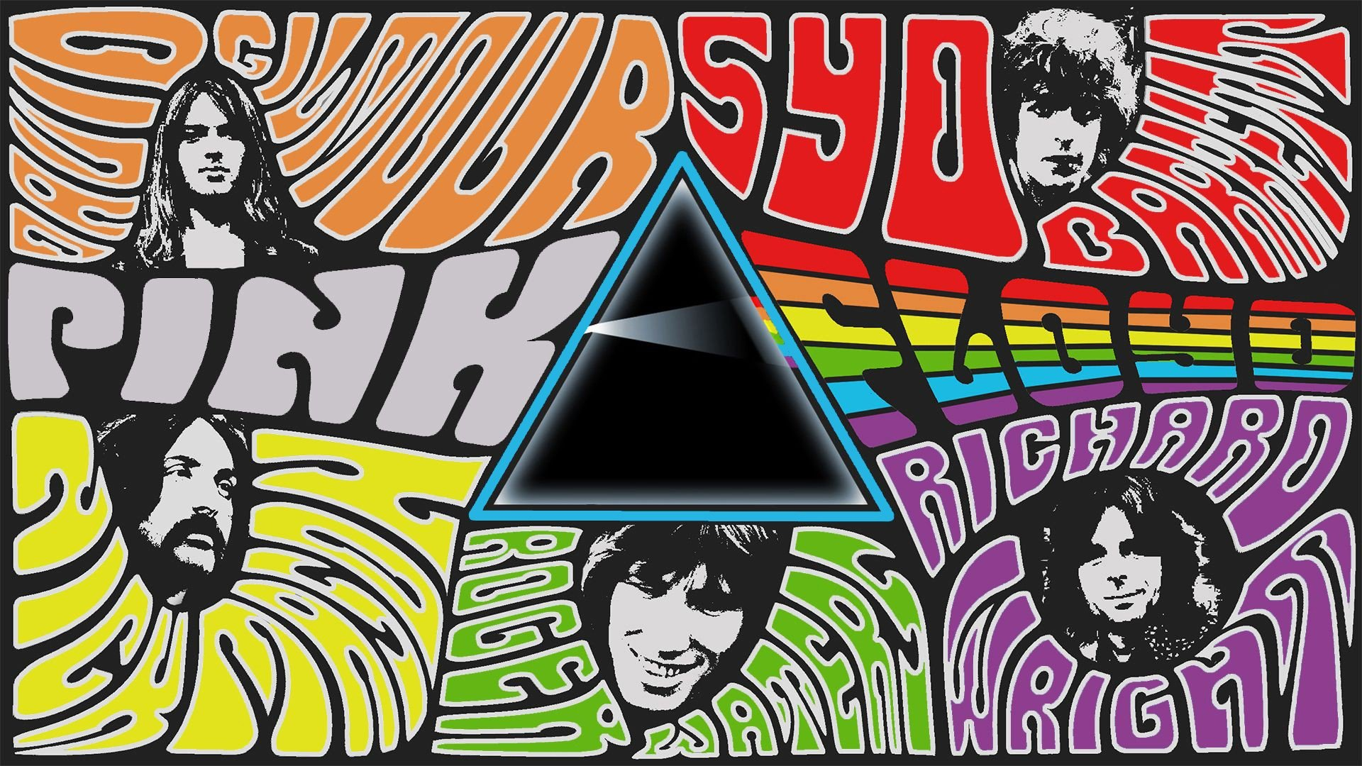 Music Pink Floyd Groups Psychedelic Dark Side Rock Collage Musicians Band Wallpaper