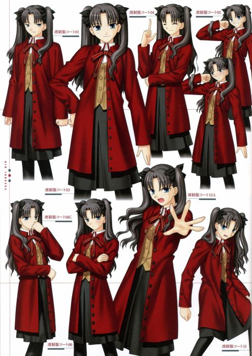 Fate/Stay Night Tohsaka Rin concept art artwork characters scans Fate series wallpaper