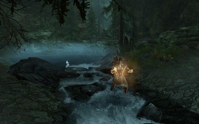 caves elves rivers The Elder Scrolls V: Skyrim wallpaper