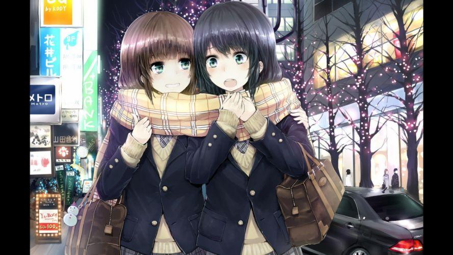 school uniforms scarfs anime girls original characters wallpaper