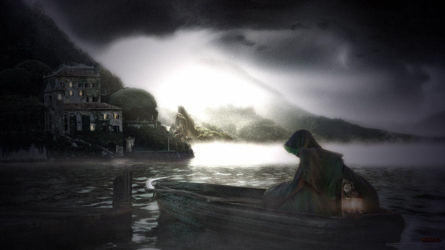 fantasy landscapes dark ships wallpaper