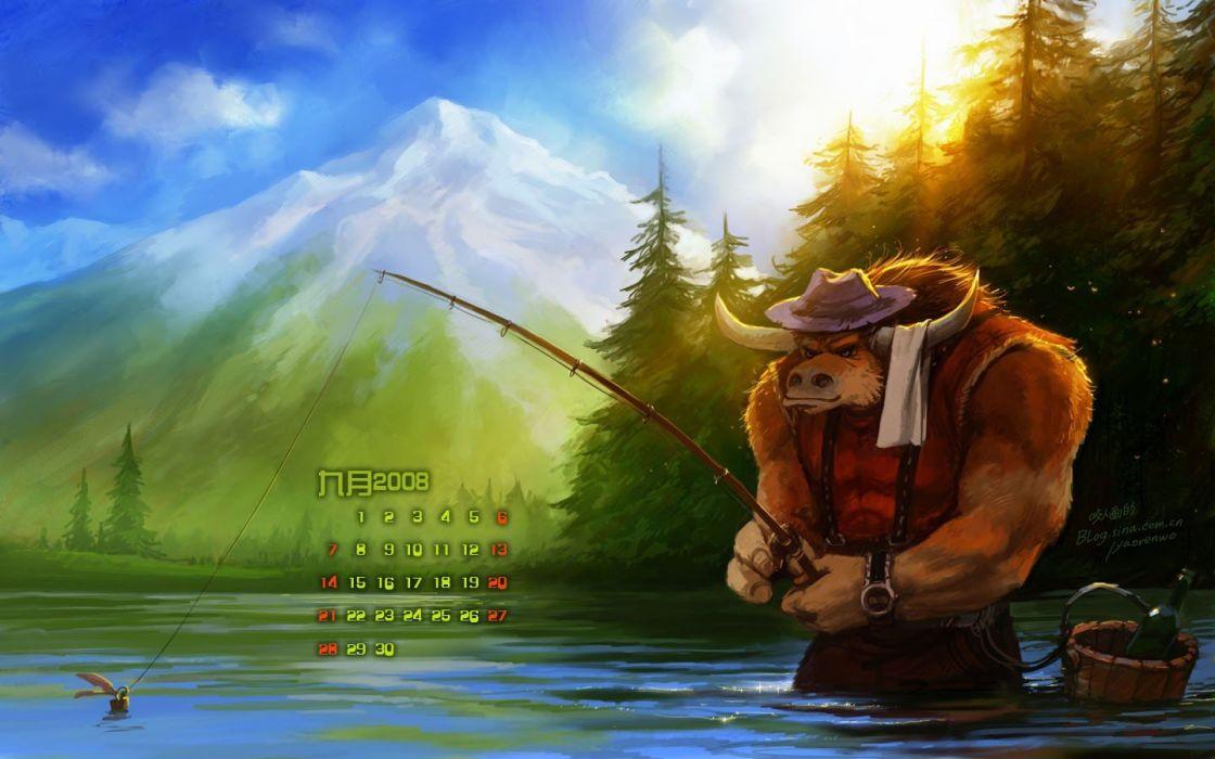 World of Warcraft tauren fantasy art fishing wallpaper
