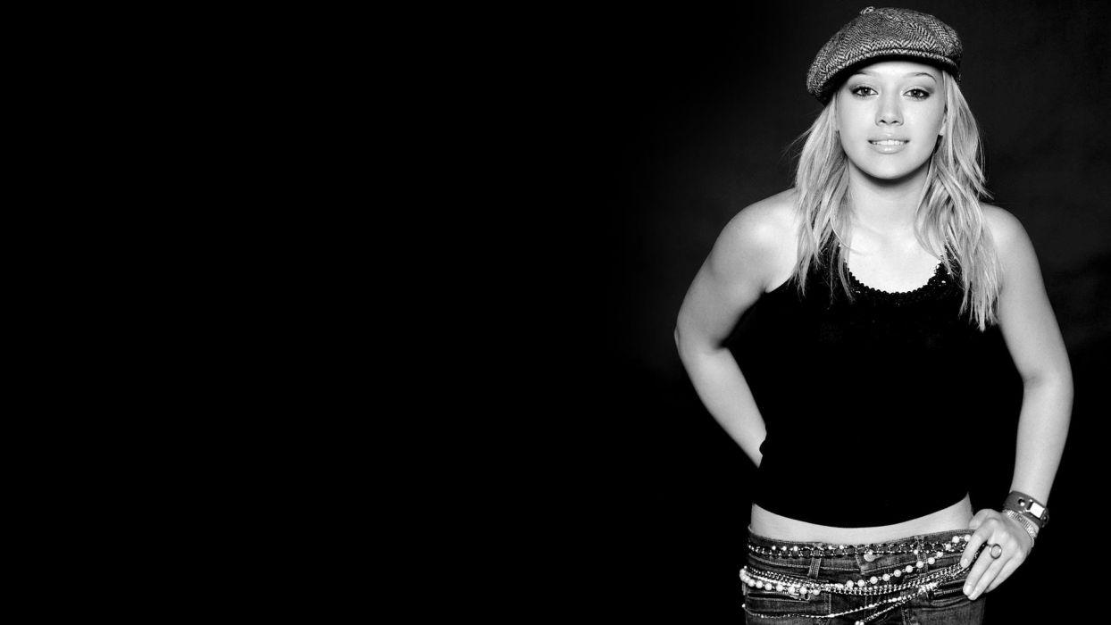 women Hilary Duff monochrome black background wallpaper