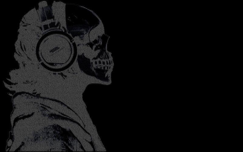 headphones skulls black dark text ascii hackers guy wallpaper