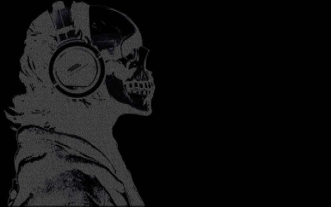 headphones skulls black dark text ascii hackers guy wallpaper