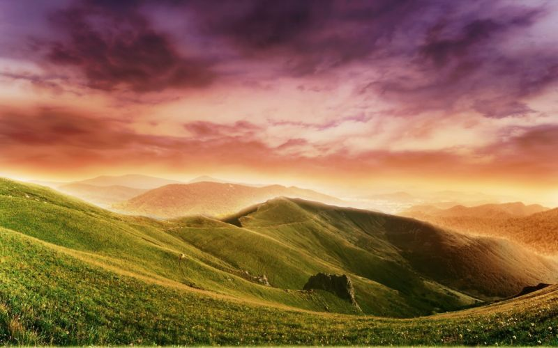 mountains clouds landscapes nature fields surreal wallpaper