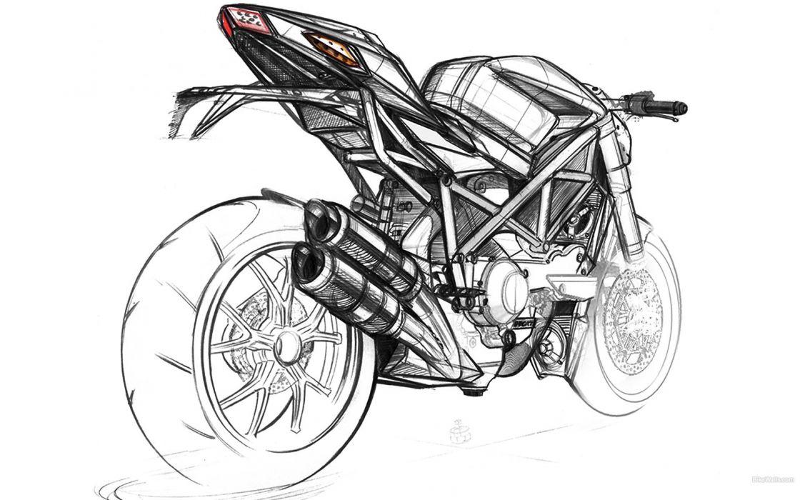 sketches artwork Ducati vehicles motorbikes wallpaper
