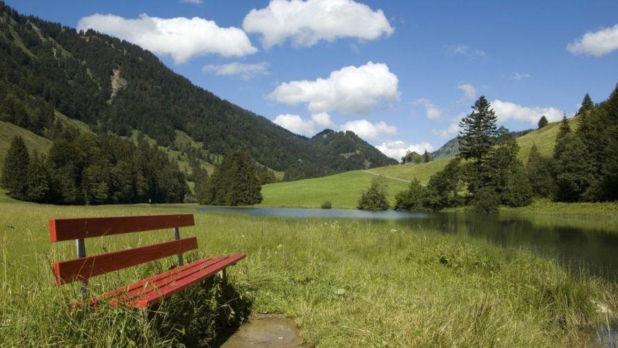 mountains bench lakes wallpaper