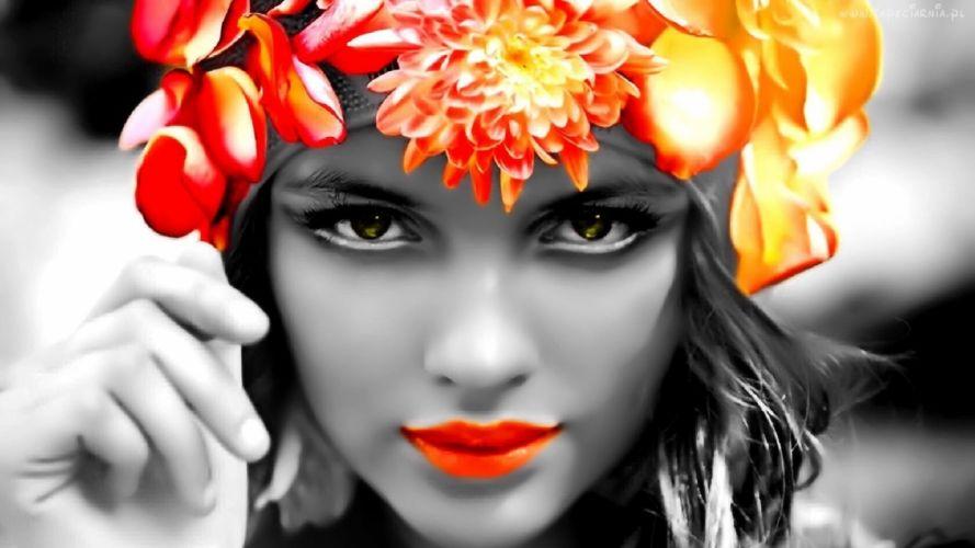 women selective coloring faces wallpaper