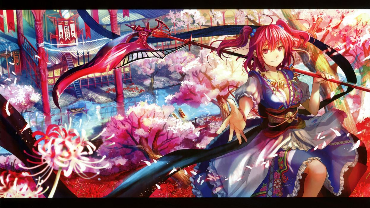 water video games landscapes Touhou cherry blossoms trees dress multicolor flowers scythe redheads cleavage houses weapons buildings shinigami red eyes short hair twintails scenic necklaces rivers Fuji Choko Onozuka Komachi Japanese clothes hair ornaments wallpaper