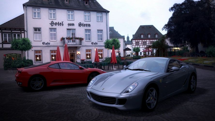 video games cars Ferrari 599 GTB Fiorano Gran Turismo 5 Playstation 3 Ferrari F430 Scuderia wallpaper