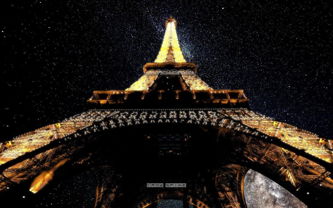 Eiffel Tower Paris lights tower stars France photo manipulation Deep Space wallpaper