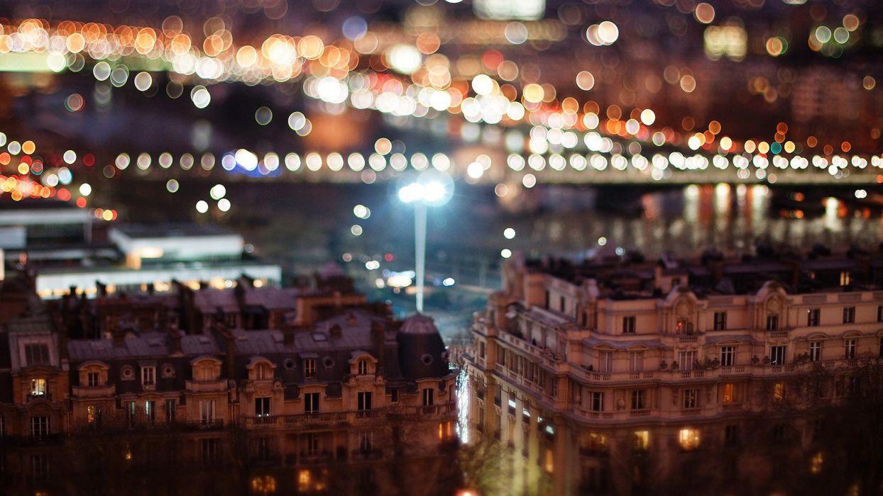 cityscapes France buildings bokeh city lights tilt-shift cities wallpaper