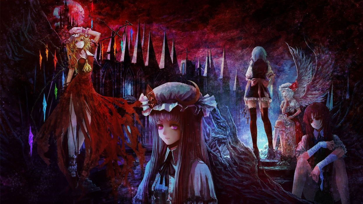 blondes video games Touhou wings cross castles dark dress night maids redheads Moon groups long hair ribbons outdoors weapons buildings Izayoi Sakuya blue hair vampires purple hair red eyes short hair thigh highs crystals scenic bows red dress sitting kni wallpaper
