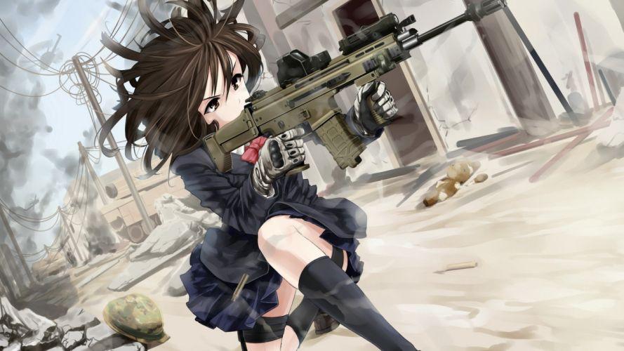 guns stockings Call of Duty eotech anime anime girls ACR wallpaper