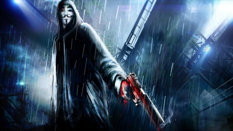pistols guns V for Vendetta artwork wallpaper