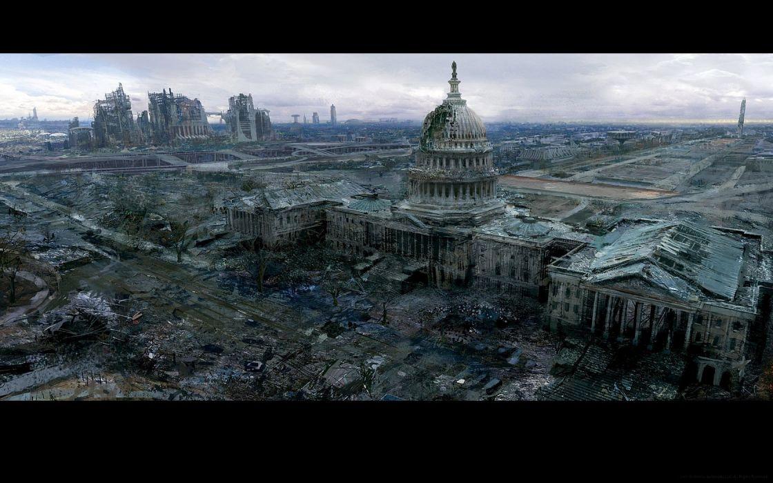 Fallout buildings apocalypse Washington DC concept art wallpaper